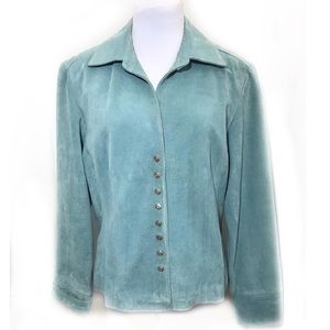Live ALittle Teal Blue Suede Jacket Corset Buttons
